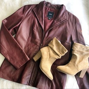 Berry 100% Leather Jacket